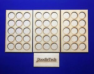 Laser cut MDF set of 3 5x1 MOVEMENT TRAYS for 25mm round Bases LOTR 40k