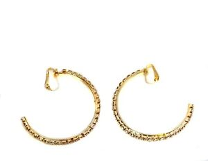 CLIP ON 3 Gold Tone Thin Textured Large Big Hoop Fashion Non-Pierced Earrings B237