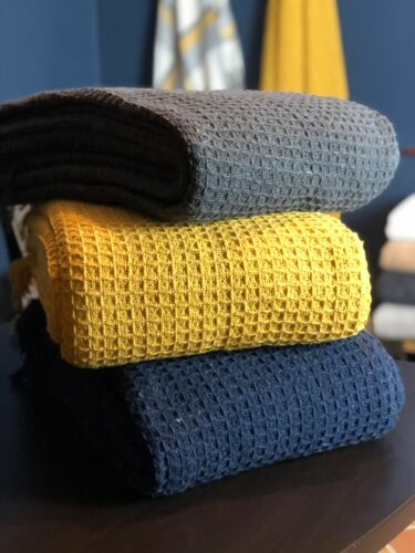 100/% Cotton Waffle Check Ochre Yellow Grey Large Bed Sofa Throws Navy Blue
