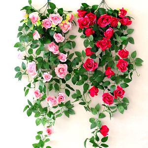 2-4m-Faux-Soie-Artificielle-Rose-Fleur-Lierre-Vigne-Guirlande-de-Mariage-Jardin