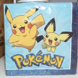 16 2-PLY POKEMON PIKACHU MEOWTH DESIGNWARE LUNCHEON NAPKINS NEW BIRTHDAY PARY