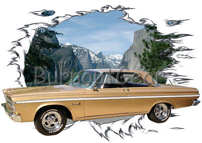 1965 Gold Plymouth Belvedere b Custom Hot Rod Mountain T-Shirt 65 Muscle Car Tee