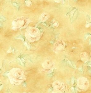 Image Is Loading Off White Roses On Creamy Golden Yellow Wallpaper