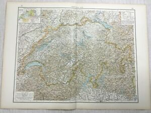 1899 Antik Map Of Switzerland Swiss Cantons Alt Europa 19th Jahrhundert Original