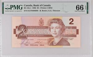 CANADA-2-DOLLARS-1986-P-94-BONIN-THIESSEN-GEM-UNC-PMG-66-EPQ
