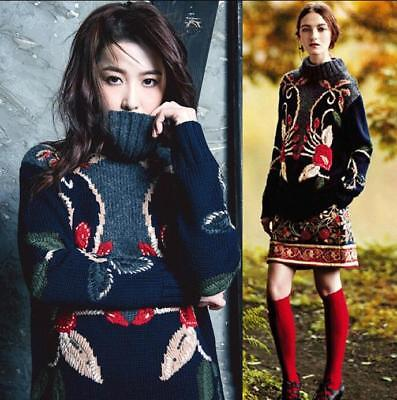 Occident women wool embroidery floral turtleneck chic sweater skirt 2 piece suit
