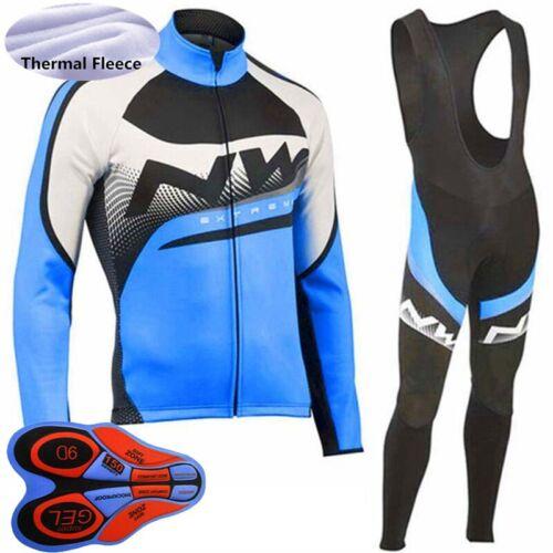 2019 Men Winter Thermal Fleece cycling jersey bib pants Set warmer Bike clothing