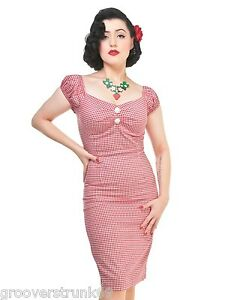 Wiggle Gingham Delores Picnic Rockabilly Plus Rød Uk Størrelse Collectif Kjole Pencil wI4x6R