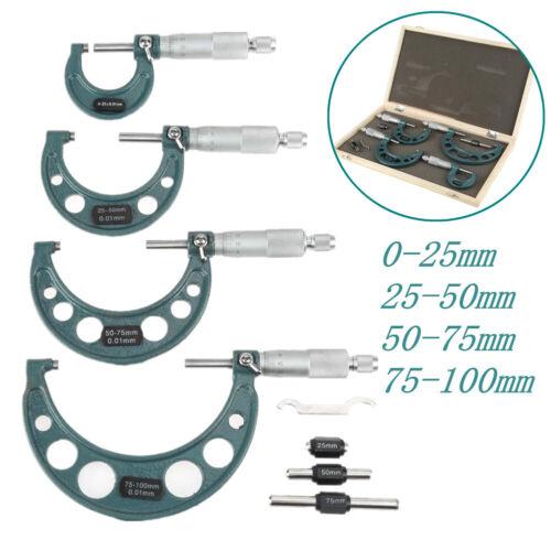 Mikrometer Bügelmeßschrauben Micrometer Messschraube 4-teilig Satz 0-100mm