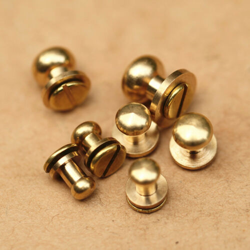 5-50pcs Stud Screw Round Head Solid Brass Nail Rivet Chicago Button DIY Leather
