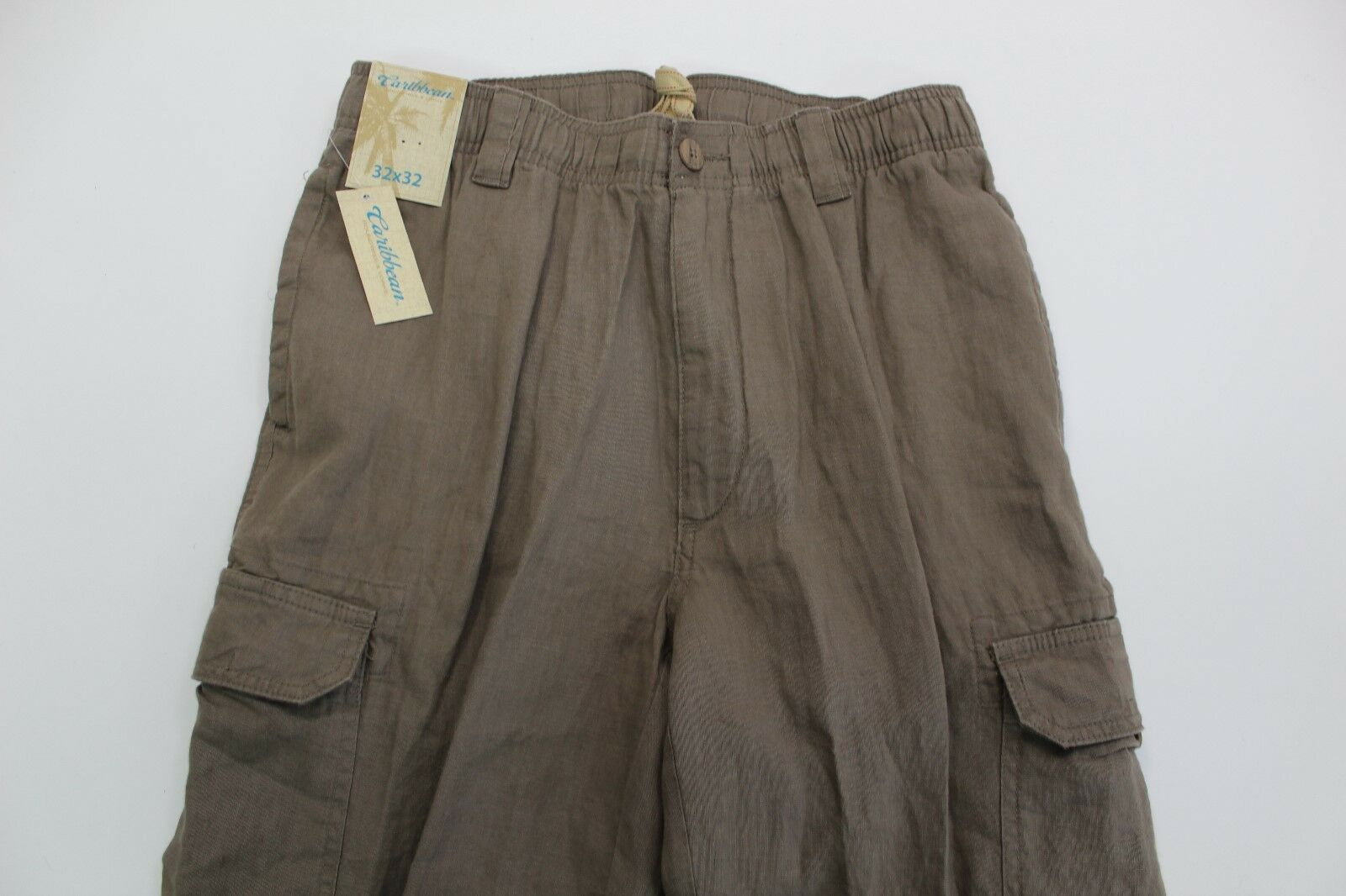 Caribbean Men's Linen Drawstring Cargo Pants-  32x32  -NWT Brownstone