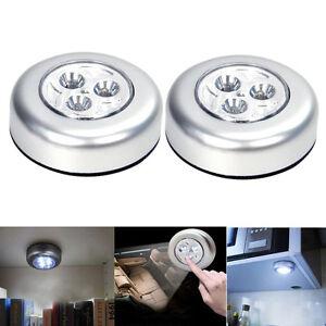 2PCS-3-LED-Push-Luces-Autoadhesiva-en-Gabinete-Armario-de-Cocina-Luces-Tactil