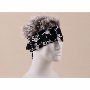 FLAIR HAIR HATS WITH HAIR PIRATE SKULL BANDANA GREY HAIR QUALITY ... f7924141646f