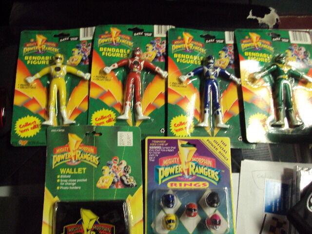 1994 Mighty Morphin Power Rangers Mmpr Doble cifras verde Azul Rojo Amarillo. Plus