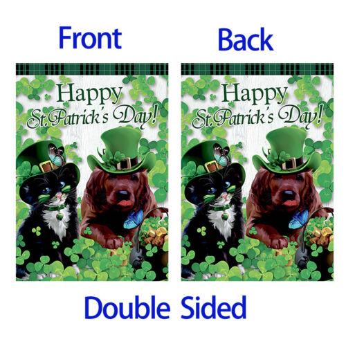 Morigins Green Hat Cat and Dog Shamrock Decor Happy St.Patrick/'s Day Garden Flag