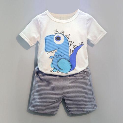 Toddler Kid Baby Boys Cartoon Printing T-shirt+Short Pants Clothes Outfits Set