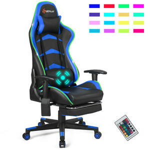 Massage LED Gaming Chair Reclining Racing Chair w/Lumbar Support&Footrest Blue