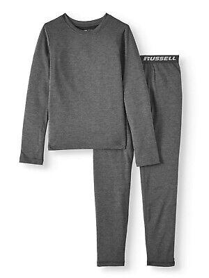 Boys Medium 8 Black Performance Flex Base Layer Set Fruit of the Loom Shirt Pant