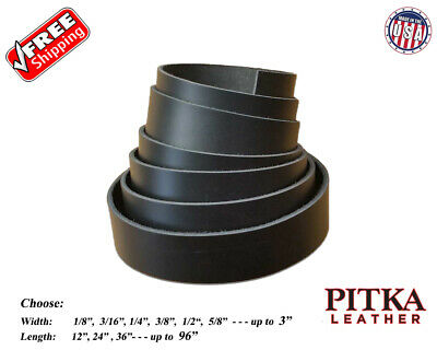 Black Leather Strips Latigo 7-8 oz Guitar Straps - Belts Collars.. 2.8-3.2 mm