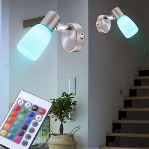 2x RGB LED Wandstrahler Fernbedienung Glas Leuchten Schlafzimmer ...