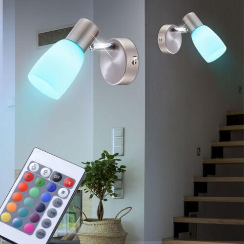 2er Set RGB LED Wand Lampen Fernbedienung Dimmer Wohn Zimmer Glas Spots drehbar