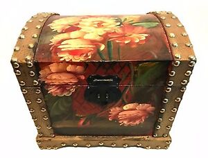Trunk Chest Trinket Box Wooden Handpainted Floral Gold Studs 9.25 inches Tall