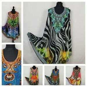Ladies-Sheer-Beachwear-Embellished-Tunic-Kaftan-Print-Onesz-14-16-18-20-22-24-26