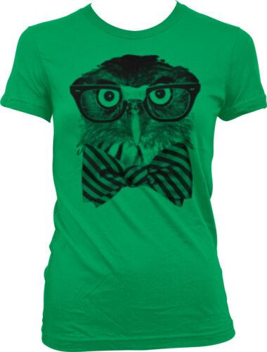Hipster Owl Black Rimmed Taped Glasses Striped Bow Tie Meme Juniors T-shirt
