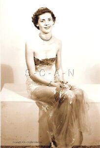 1940s-60s Sepia (4 x 6) Semi Nude Repro Pinup RP- Low Cut