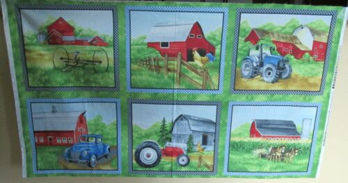 """1 Wonderful /""""Green Mountain Farm/"""" Cotton Quilting Crafting Fabric Panel"""