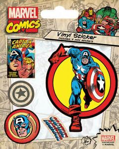 Aufkleber & Sticker Marvel Comics Captain America Retro Stickerset Sticker Aufkleber 10x12,5cm Feine Verarbeitung