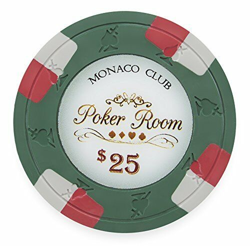$25 Clay Composite Heavy Weight 50-pack Monaco Club 13.5g Poker Chips