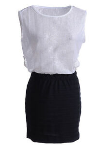 Women-S-M-Fit-White-and-Black-Color-Block-Style-Cut-Out-Side-Net-Mesh-Dress