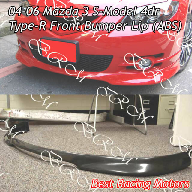 Type-R Style Front Bumper Lip (ABS) Fits 04-06 Mazda 3 4dr S-Model