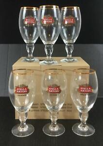 Stella-Artois-Beer-Glasses-Set-of-6-NEW-11-oz-Gold-Rimmed-Logo-Chalice-Glass