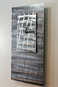 Metal Abstract Modern Painted Grey Silver Wall Art Clock Sculpture Jon Allen
