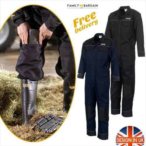 JCB Men Work Overalls Coveralls Boiler Suit Boiler Mechanics Knee Pad Pockets