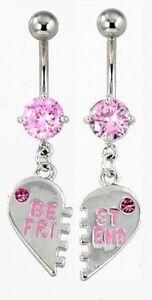 2-Pink-Best-Friend-Dangle-Belly-Bar-Rings-1-Pair-NSP