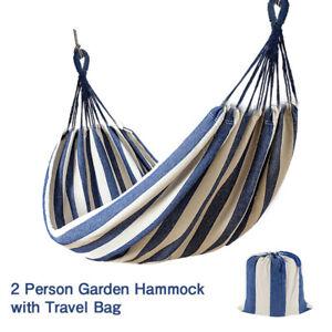 Hammock-Garden-Canvas-Outdoor-Hanging-Bed-Straps-Portable-Camping-Travel-Bag-UK