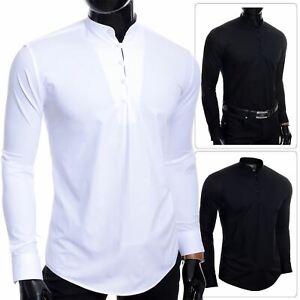 Mens-Henley-Long-Sleeve-Shirt-Smart-Casual-Grandad-Collar-Button-Loops-Holiday