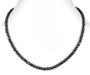 4mm-Certified-18-034-Black-Diamond-Beads-Necklace-Free-Diamond-Studs-90-ct
