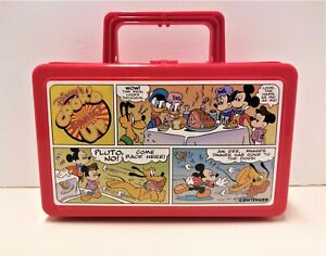 Vintage Pluto Mickey Disney Cook'd Comic Up Whirley Works Red Pencil / Lunch Box