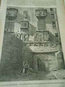 Ancienne Maison Arabe Au Caire Egypte Gravure Antique Print 1877 Lustre Brillant