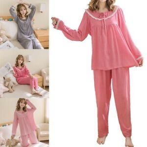 20b28c80da4 Chic Women Girls Long Sleeve Cotton Sleepwear Pajamas Nightwear Suit ...