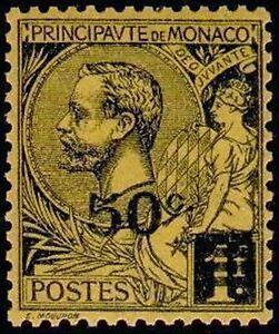 Monaco-Stamp-Sello-Yvert-N-53-034-Principe-Albert-1er-50c-sobre-1F-034-Nueva-Xx