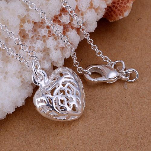 925 Hallmark Sterling Silver Filled Filigree Heart Pendant Necklace N442