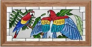 22x11-SCARLET-MACAWS-Parrot-Tropical-Stained-Art-Glass-Framed-Suncatcher