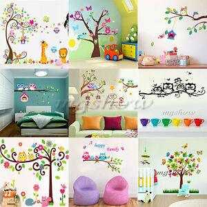 Jungle animals tree bird owl removable wall decal stickers for Bird and owl tree wall mural set