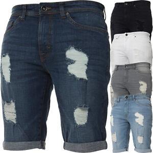 Kruze-Denim-Mens-Shorts-Stretch-Regular-Fit-Distressed-Ripped-Half-Jeans-Pants