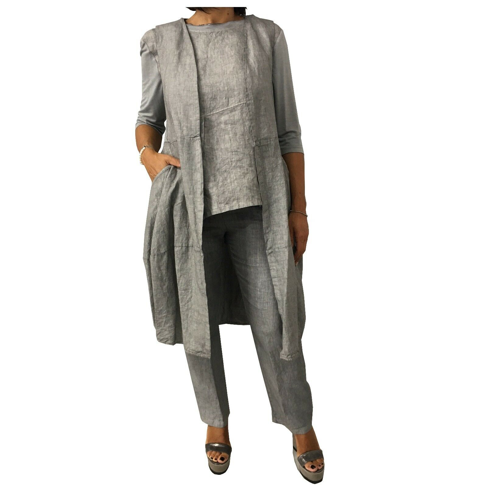 MYLAB woman vest grey used MADE IN ITALY 100% linen - 95% viscose 5% elastane